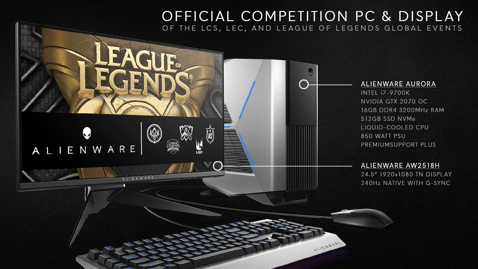 Alienware Aurora & AW2518H, Official PC & Display of League of Legends Esports
